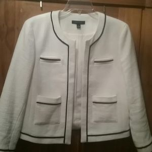 White jacket with navy piping